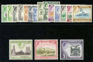 Rhodesia & Nyasaland 1959 QEII Definitive set complete MLH. SG 18-31. Sc 158-171