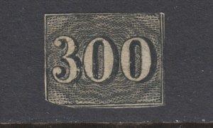 Brazil Sc 27 MOG. 1850 300r black Numeral, small thin, clipped corner, some OG