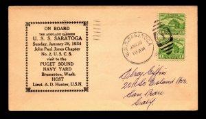 1934 USS Saratoga Visits Puget Sound Cover - L13674