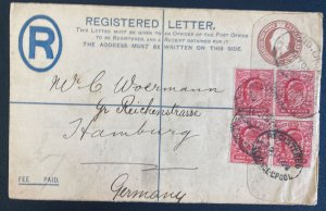 1902 Liverpool England Postal Stationery Cover To Hamburg Germany Perfin Stamp