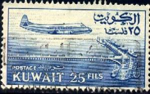Plane, Vickers Viscount, Kuwait stamp SC#162 Used