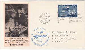 United Nations 1961 Boeing 707 N.Y.-Cologne-Munich Flight Stamps Cover Ref 28753