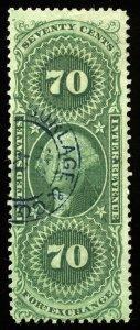 v17 U.S. Revenue Scott #R65d 70c Foreign Exchange silk paper, handstamp CV=$75