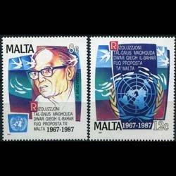 MALTA 1987 - Scott# 707-8 Marine Resources Set of 2 NH