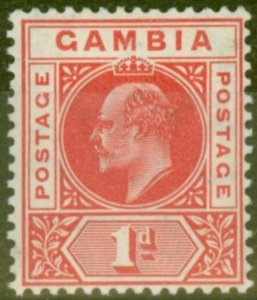 Gambia 1909 1d Red SG73 Fine Mtd Mint
