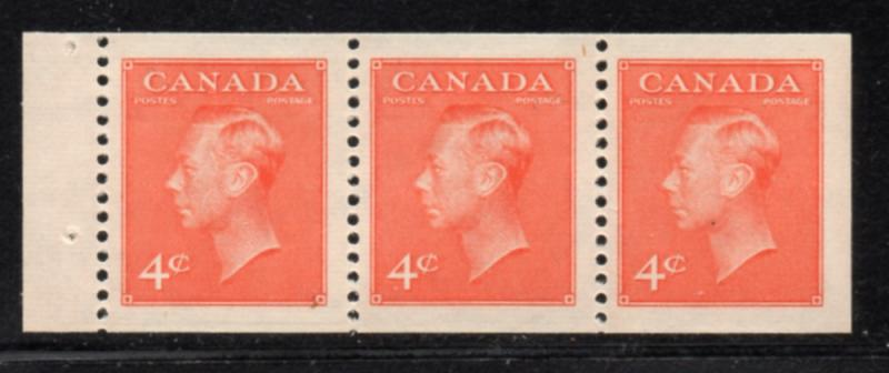 Canada Sc 306a 1951 4c orange vermilion G eorge VI booklet pane of 3 mint