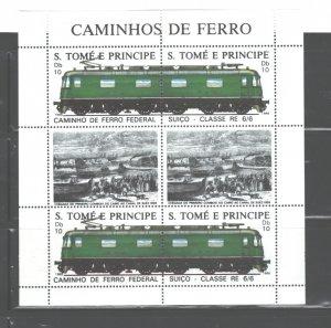 S TOME E PRINCIPE 1988 TRAINS M.S.. #823 MNH