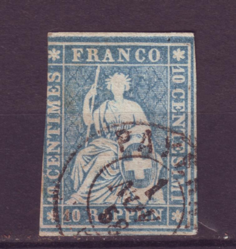 J12645 JLstamps 1855-7 switzerland used avg #26 milky blue $200.00 SCV