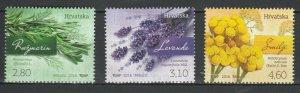 Croatia 2016 Flowers 3 MNH Stamps
