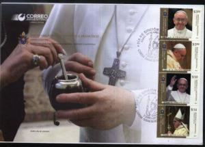POPE FRANCISCO -FRANCIS ARGENTINA 2013 FDC YV 2987-90 JOINT ISSUE VATICAN-ITALY
