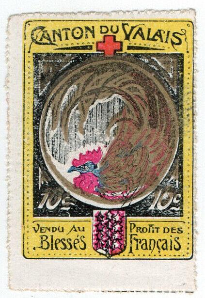 (I.B) France (Great War) Cinderella : Valais Red Cross 10c (Delandre)