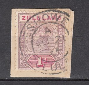 J26201  jlstamps 1894-6 zululand used #16 queen on piece