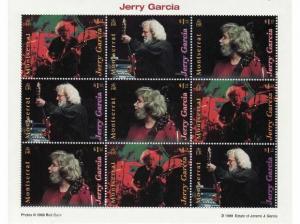 Montserrat - Jerry Garcia 9 Stamp  Sheet  973-5