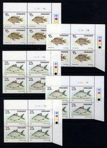 ZIMBABWE 1989 Complete Fish Set Traffic Light BLOCKS SG 756 to SG 761 MNH