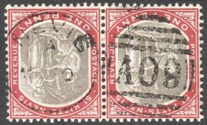 ST KITTS-NEVIS 1905 Sc 13, Used  pair VF 1d Medicinal Spring, Nevis A09  Cancel