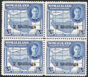 SOMALILAND-1951 2/- on 3r Bright Blue Block of 4 Sg 134 UNMOUNTED MINT V42922