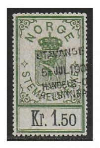 Norway 1902 Arms Documentary Revenue 1.50K Green & Light Red F/VF Used #16