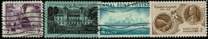 CANAL ZONE #147-50 1955-58 3c AND 4c COMMEMORATIVE ISSUES-USED/MKINT--VF