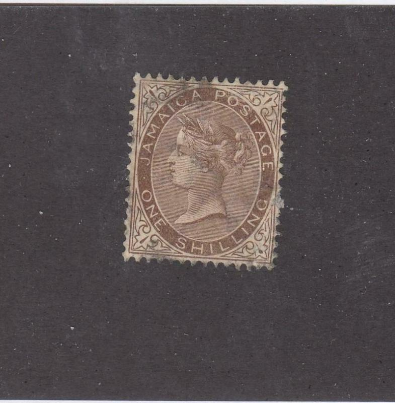 JAMAICA (MK973) # 53 VF-USED  1sh  QUEEN VICTORIA /BROWN CAT VALUE $43