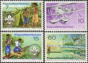 Papua New Guinea 1976 SG309-312 Scouts and Survey Flights set MNH
