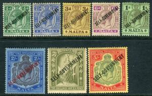 MALTA-1922  A mounted mint Multi Script set to 5/- Sg 106-113