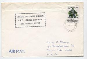 1971 Cook Islands UK Emergency Mail Service cover [L.72]