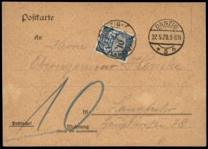 Danzig 1929 Postage Due Germany Cover to Langfuhr 83618