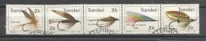 TRANSKEI, 1984, Complete set, CTO Fishing Flies (5th series).Scott 73a-e, 1loose
