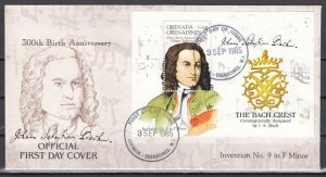 Grenada, Gr., Scott cat. 703. Composer Bach s/sheet. First day cover. ^