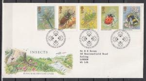 Great Britain, Scott cat. 1098-1102. Insects as Honey Bee. First Day Cover. ^
