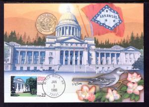 US 2167 Arkansas Statehood Fleetwood Unicover Maxi Card U/A FDC