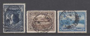 Tasmania Sc 89, 90, 92 used 1899-1900 engraved Pictorials, VF appearing