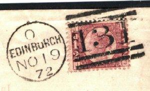 GB HALFPENNY Plate 5 Cover PRINTED LETTERSHEET re Foundling Edinburgh 1872 15.6