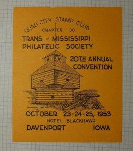 Quad City Stamp Club Davenport IA 1953 Blockhouse Ft Armstrong Philatelic Label