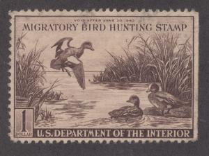 US Sc RW9 used 1942 $1 Baldpates, Duck Stamp sound & F-VF
