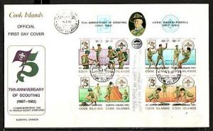 Cook Is., Scott cat. 709. Jamboree o/p on Scout s/sheet. Large First day cover.
