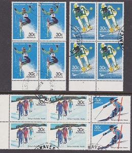 AUSTRALIA 1984 Skiing set in blocks of 4 fine used...........................750