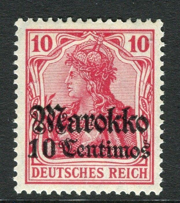 GERMAN COLONIES; MOROCCO 1911 early surcharged Mint hinged 10c. value