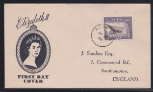 Aden # 62, Queen Elizabeth's Royal Visit, First Day Cover