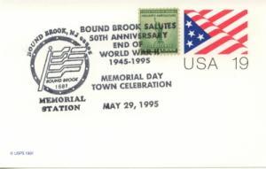 1995 50th Anniv End of World War II Flag PC Bound Brook NJ