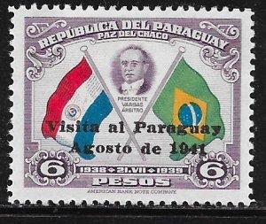 Paraguay 387: 6p Visit of President Vargas of Brazil, MH, F-VF