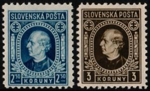✔️ SLOVAKIA 1940/1942 - ANDREJ HLINKA PERF 10½ - SC.56a/57a MNH OG [SK0041YB]