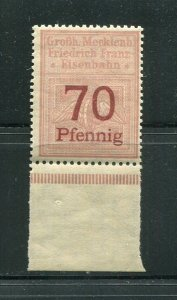 x169 - GERMANY Mecklemburg RAILWAY Revenue Stamp Eisenbahn Fiscal. MNH