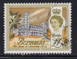 Bermuda Sc 191 1962  £1 House of Assembly & QE II stamp  used