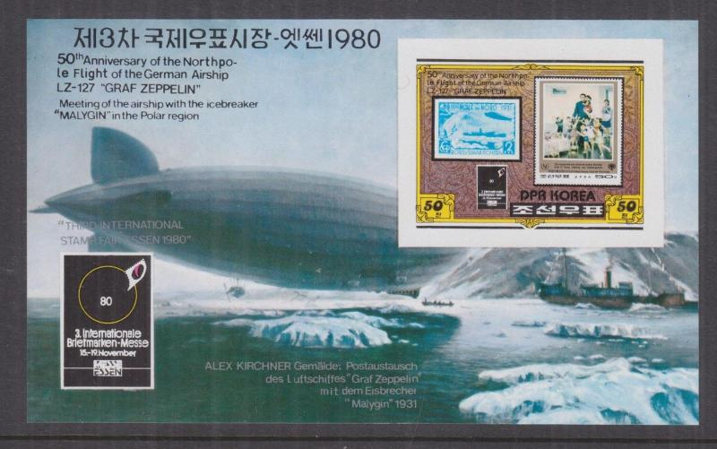 KOREA, 1980 Essen Stamp Fair, Zeppelin Souvenir Sheet, imperf., mnh.