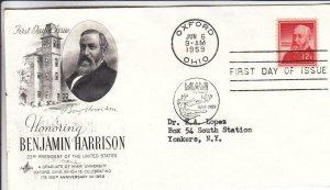 1959, Honoring Benjamin Harrison, Artcraft, FDC (D12897)