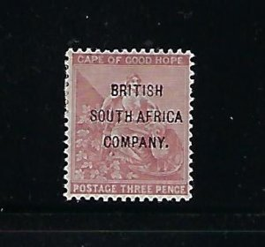 RHODESIA SCOTT #49 1896 CAPE OF GOOD HOPE OVERPRINT 3C (CLARET) -MINT  HINGED