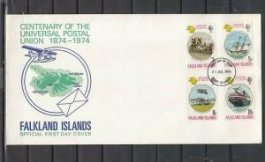 Falkland Is. Scott cat. 231-234. U.P.U. Centenary issue. First day cover.