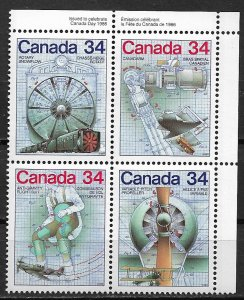 1986 Canada 1102a Canada Day/  lnvention Blueprints MLH