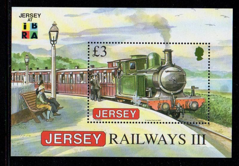 Jersey Sc 1379b 2009 £ 3 Steam Engine stamp sheet NH IBRA